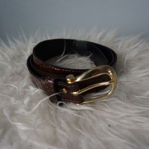 Brown Faux Reptile Shiny Belt w/ Gold Hardware